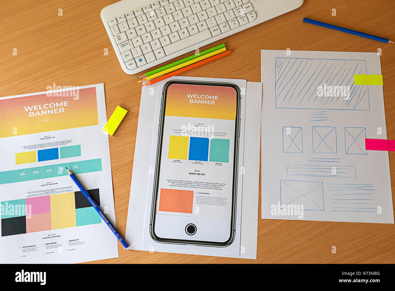 Creative sketch planning application process development prototype wireframe for web mobile phone. Landing page for new website. User experience conce - Stock Image