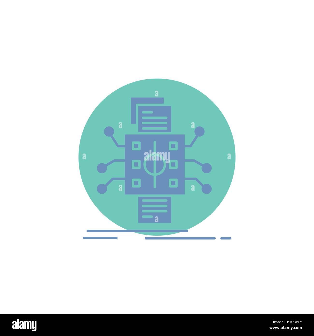 Analysis, data, datum, processing, reporting Glyph Icon. - Stock Image