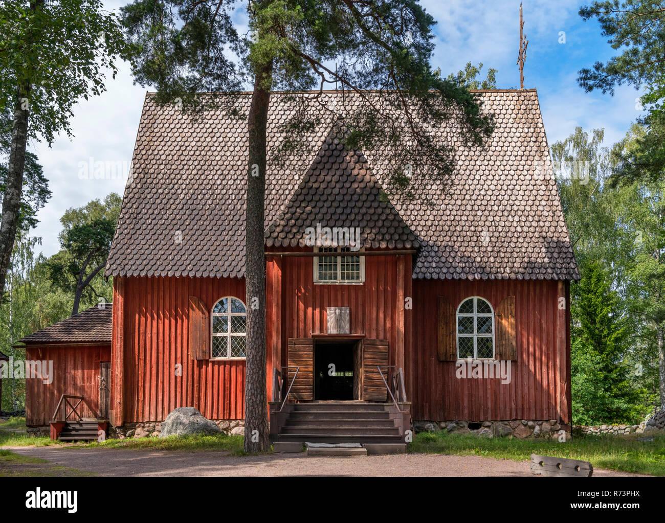 Late 17th century Karuna Church (from Sauvo, Southwest Finland), Seurasaari Open-Air Museum, Seurasaari, Helsinki, Finland. - Stock Image