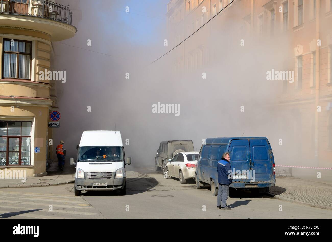 Saint-Petersburg.Russia.March.28.2018.There was a breakthrough of a heating main with hot water.The incident occurred on Stolyarnyy pereulok near Senn - Stock Image
