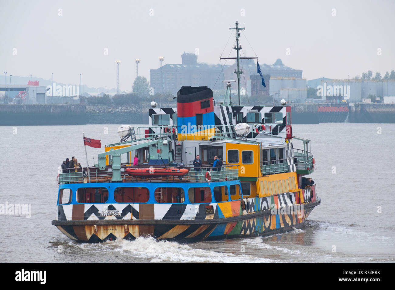 Liverpool, England - November 5, 2018:  A passenger ferry crossing the river Mersey from Liverpool to the Wirral peninsula - Stock Image