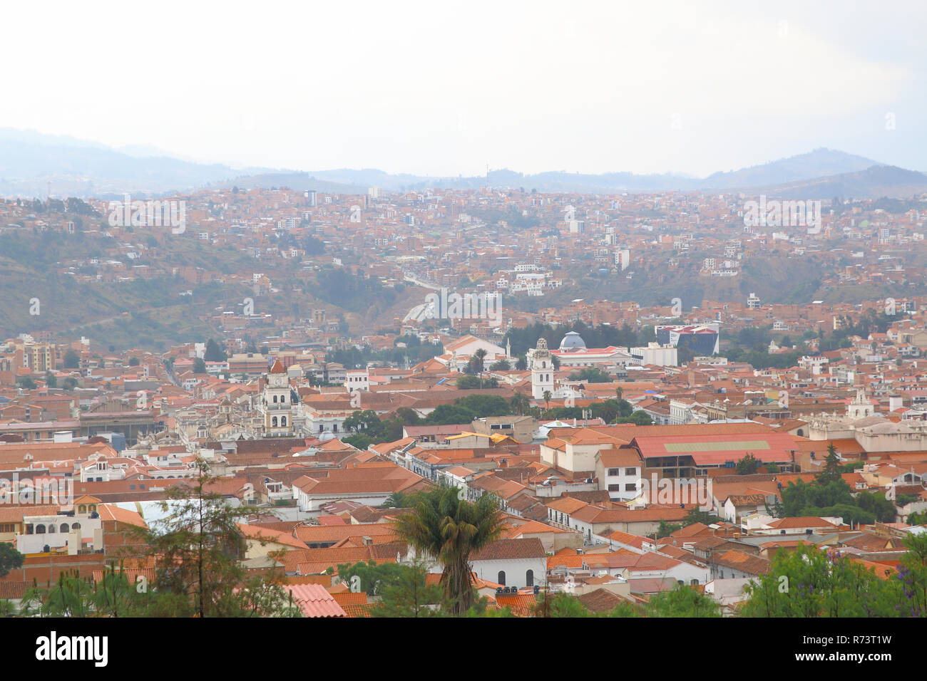 Aerial view of of Sucre, Bolivia with mountains visible in the background. City view. Stock Photo