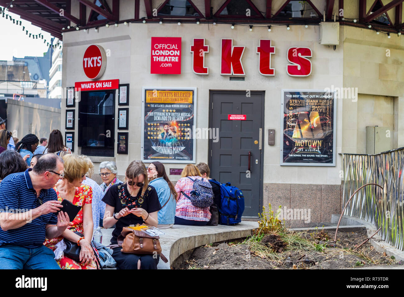 Tkts ticket office, westend show, west end show tickets, shows, Leceister Square, London UK, musicals, musical theatre concept, drama acting, play - Stock Image