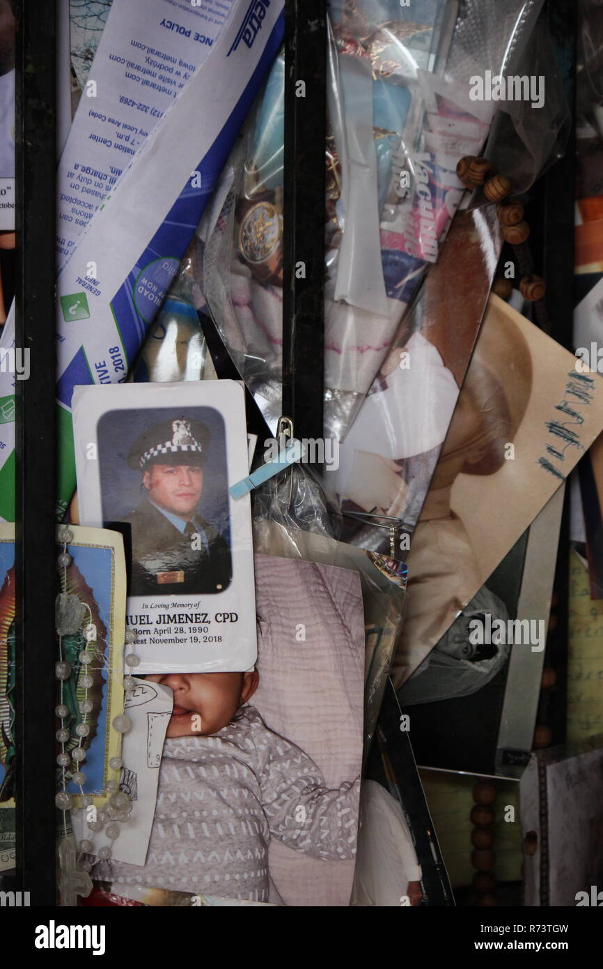 Picture of fallen Chicago police office Samuel Jimenez posted as a petition at Our Lady of Guadalupe Shrine in des Plaines, Illinois. Nuestra Señora de Guadalupe, - Stock Image
