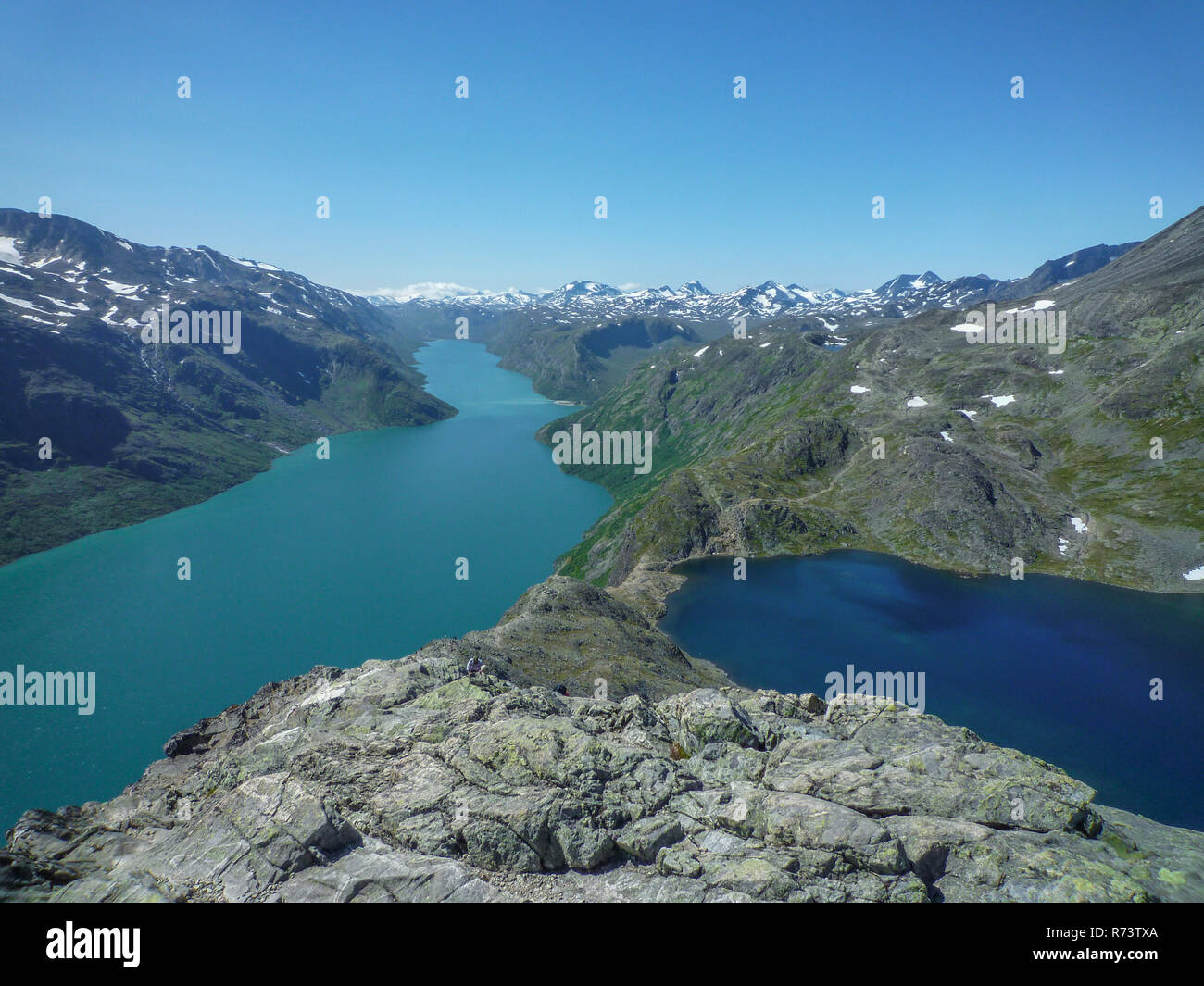 Besseggen trail with view over the lakes, Norway - Stock Image