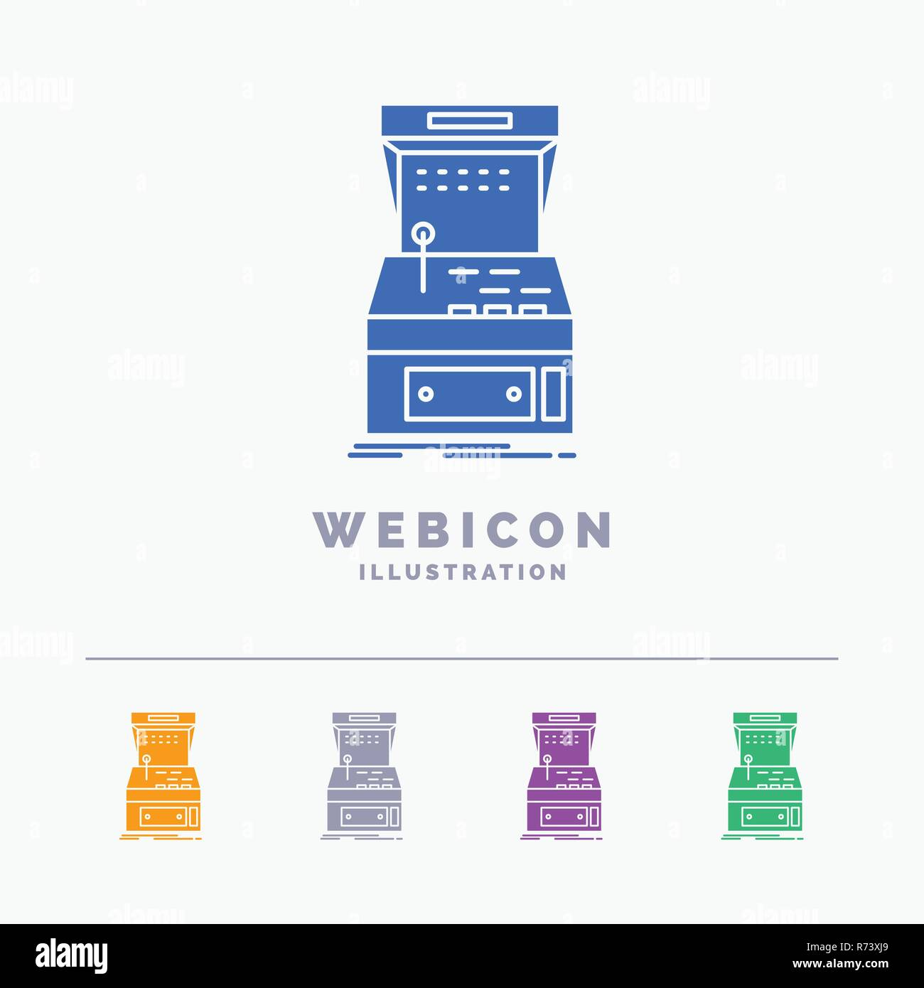 arcade console game machine play 5 color glyph web icon template