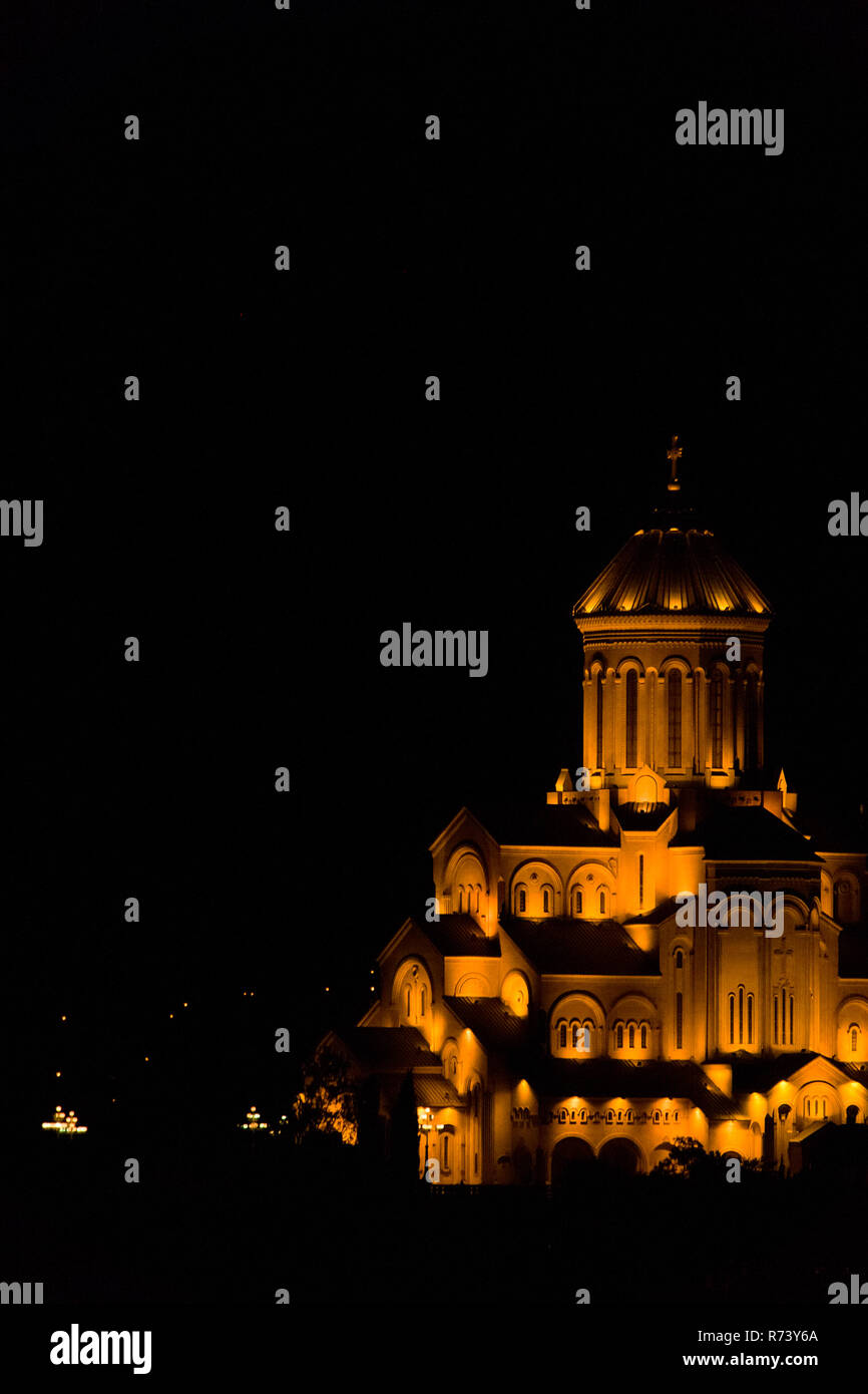The Holy Trinity Cathedral of Tbilisi, Georgia illuminated at night. As known as Sameba, it is the main church of the Geogian Orthodox Church. Stock Photo