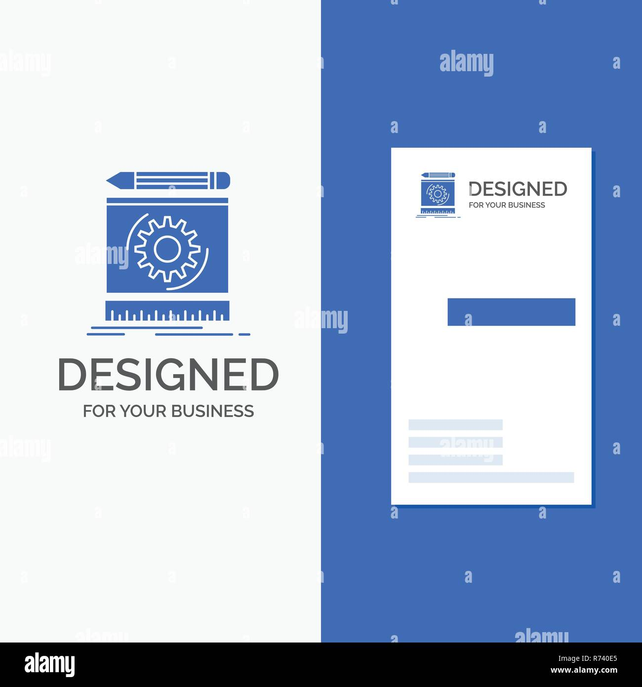 Business Logo for Draft, engineering, process, prototype, prototyping. Vertical Blue Business / Visiting Card template. - Stock Image