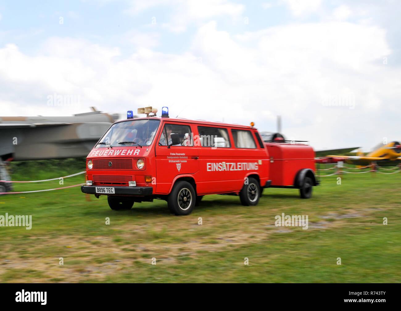 Volkswagen T25 Feuerwehr - German Fire department vehicle - converted into a camper van - Stock Image