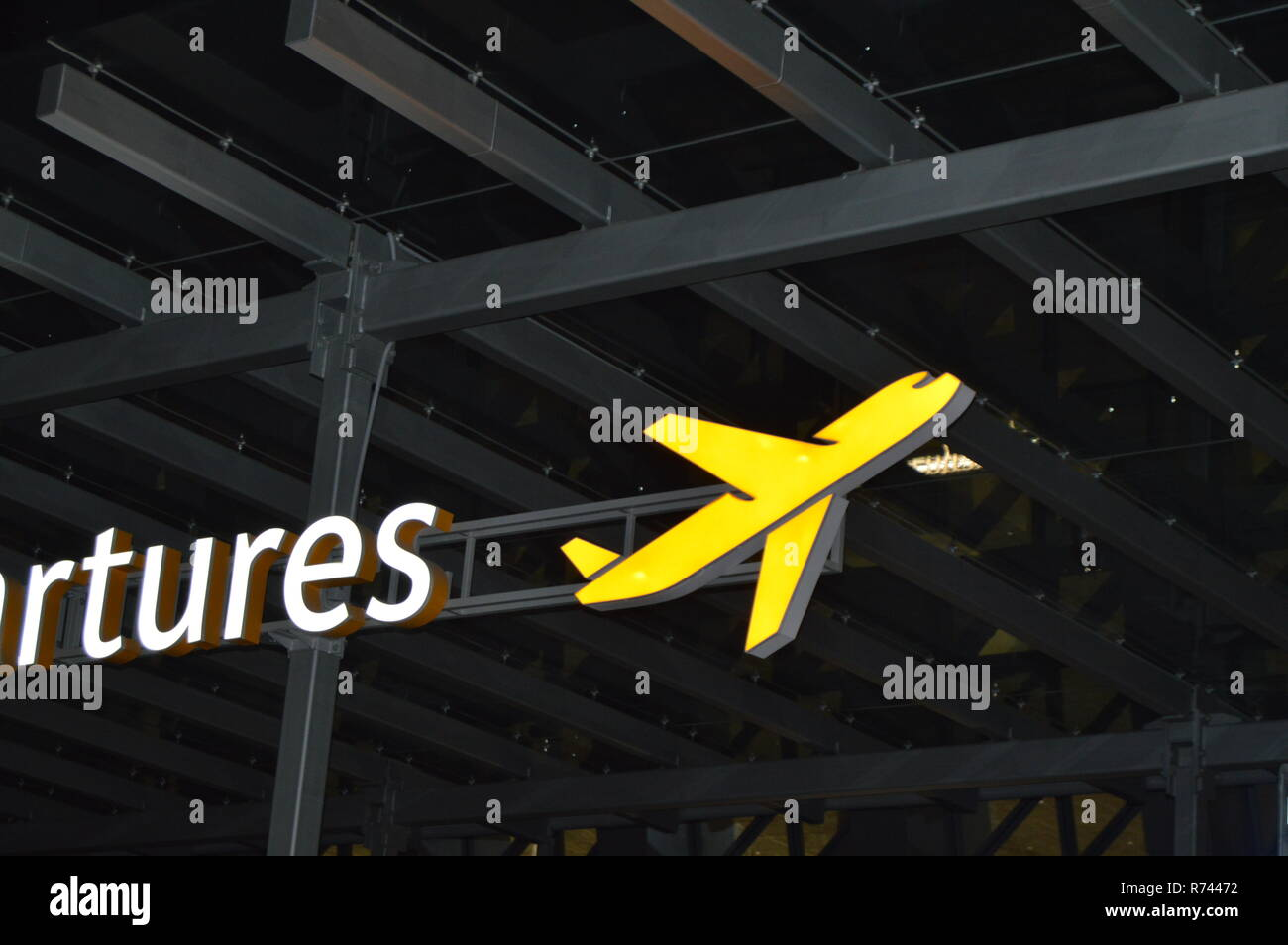 Information About The Departure Zone Signpost Of The Aircraft At The Airport At Night The Concept Of Travel Stock Photo Alamy