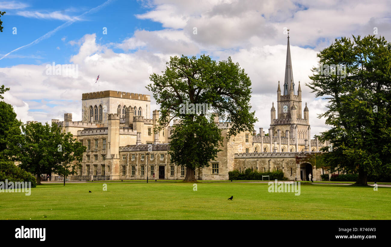 Berkhampsted, England, UK - July 30, 2017: Ashridge House, a neo-gothic stately home, stands in parkland above Berkhampsted in Herfordshire. - Stock Image