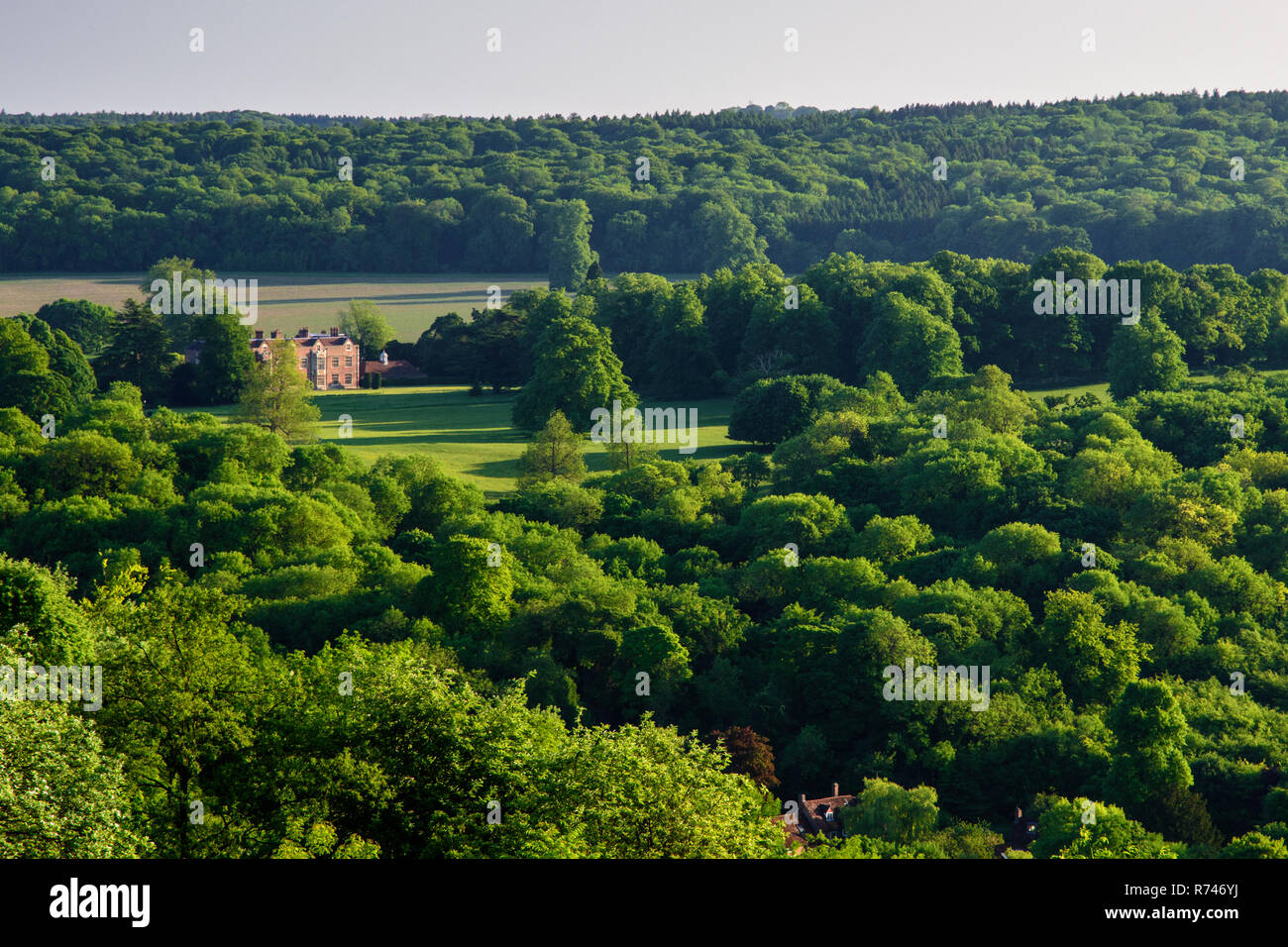 Wendover, England, UK - May 26, 2017: Evening sun shines on Chequers Court, the country house retreat of the UK prime-minister, set in parkland in the - Stock Image