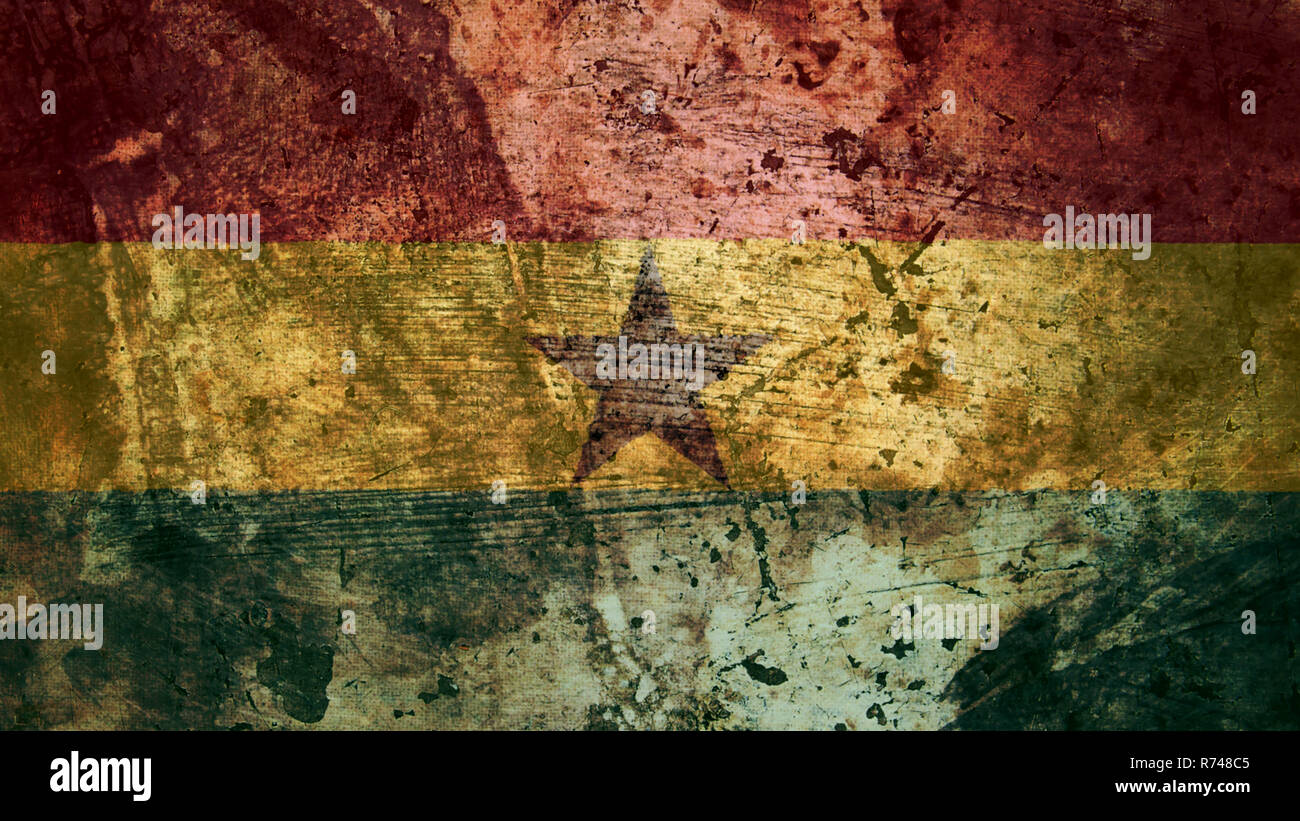 Very Grungy Vintage Ghanaian Flag, Ghana Grunge Background Texture - Stock Image
