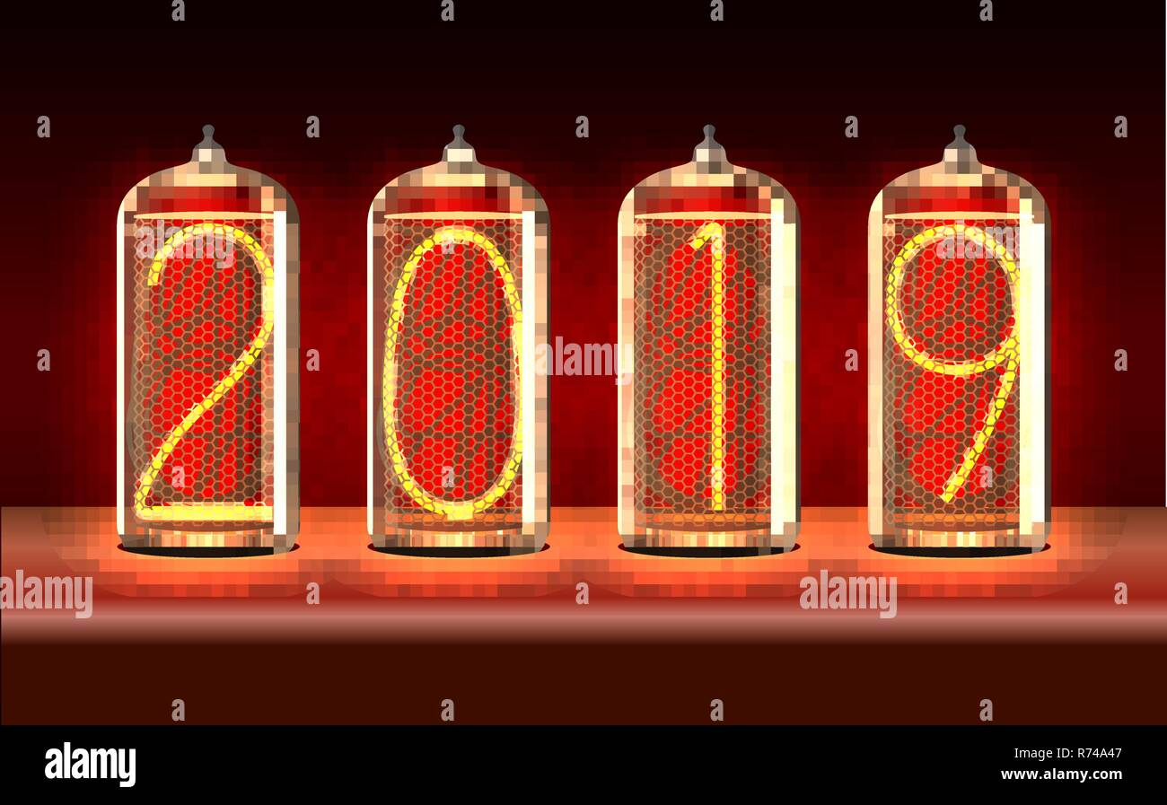 New Year Greeting Card With 2019 Lit Up In Retro Styled Nixie Tube