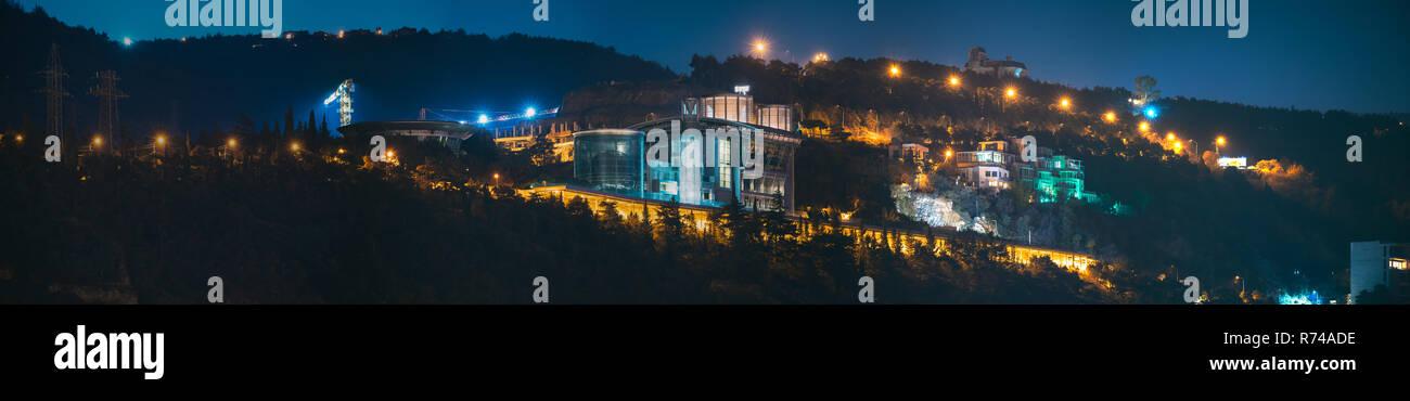 Tbilisi, Georgia. Night View Of complex of buildings, residence in Sololaki Ridge owned by the Georgian tycoon Boris (Bidzina) Ivanishvili in Tbilisi. Stock Photo