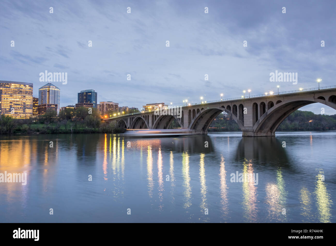 Dusk over Key Bridge. Shot from Georgetown in Washington DC looking towards Rosslyn, Virginia. - Stock Image
