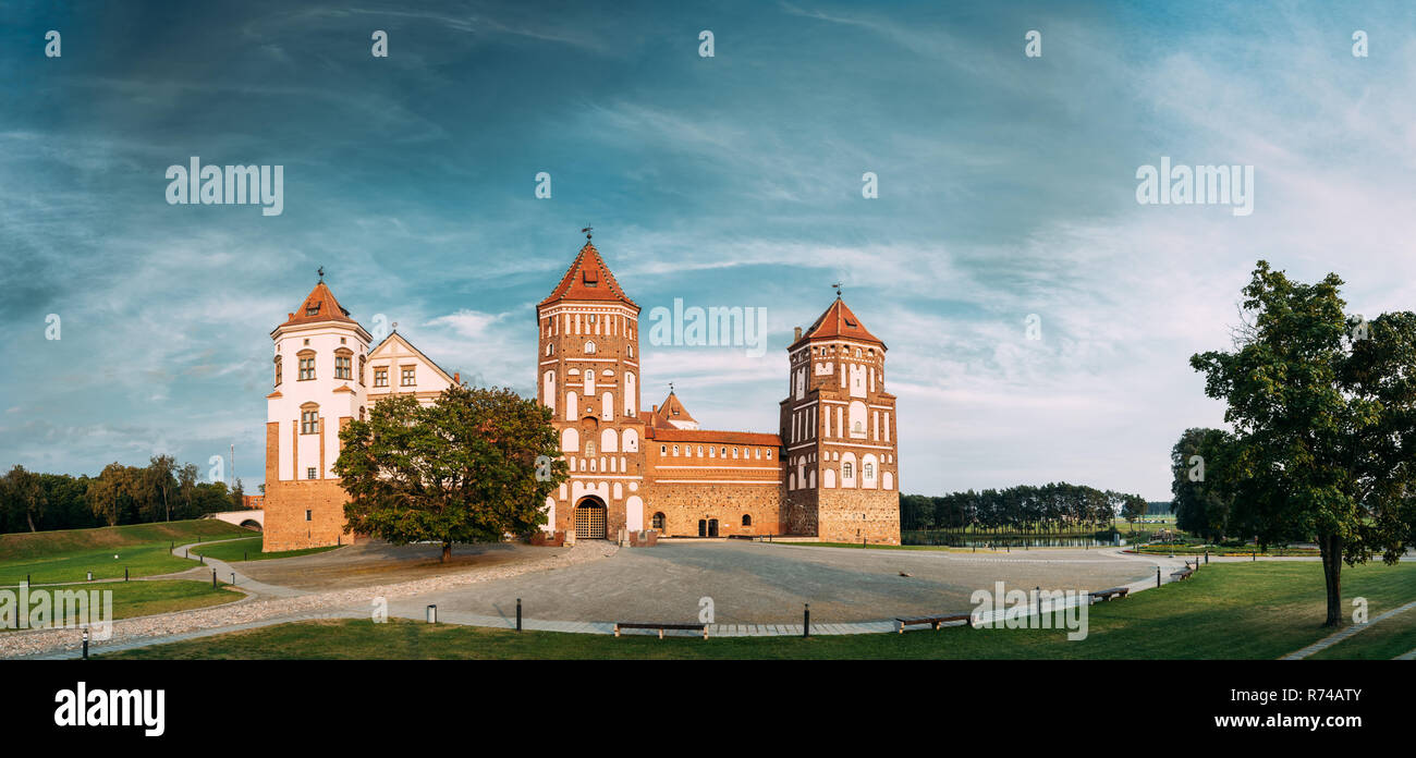 Mir, Belarus. Mir Castle Complex On Blue Sunny Sunset Sky Background. Architectural Ensemble Of Feudalism, Cultural Monument, UNESCO Heritage. Famous  - Stock Image