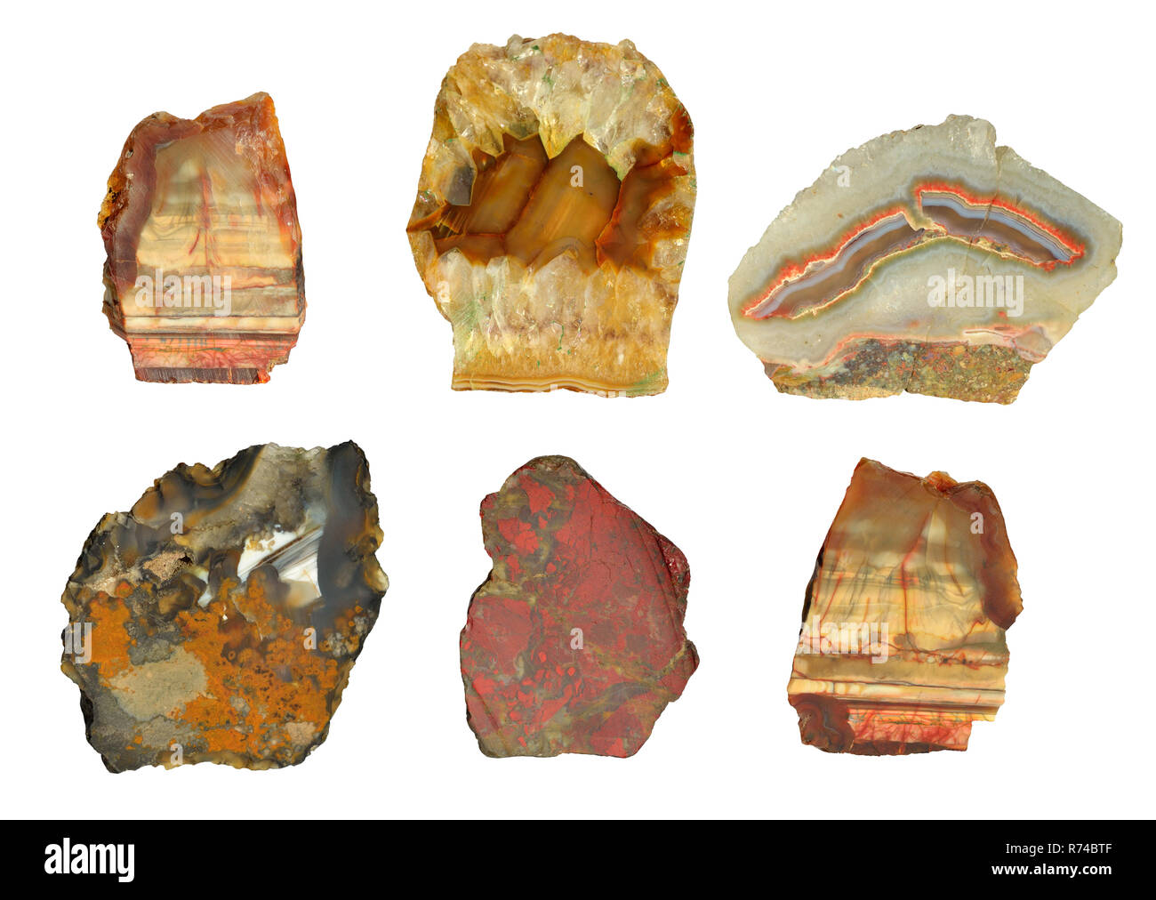 Collection of mountain minerals. Isolated. - Stock Image