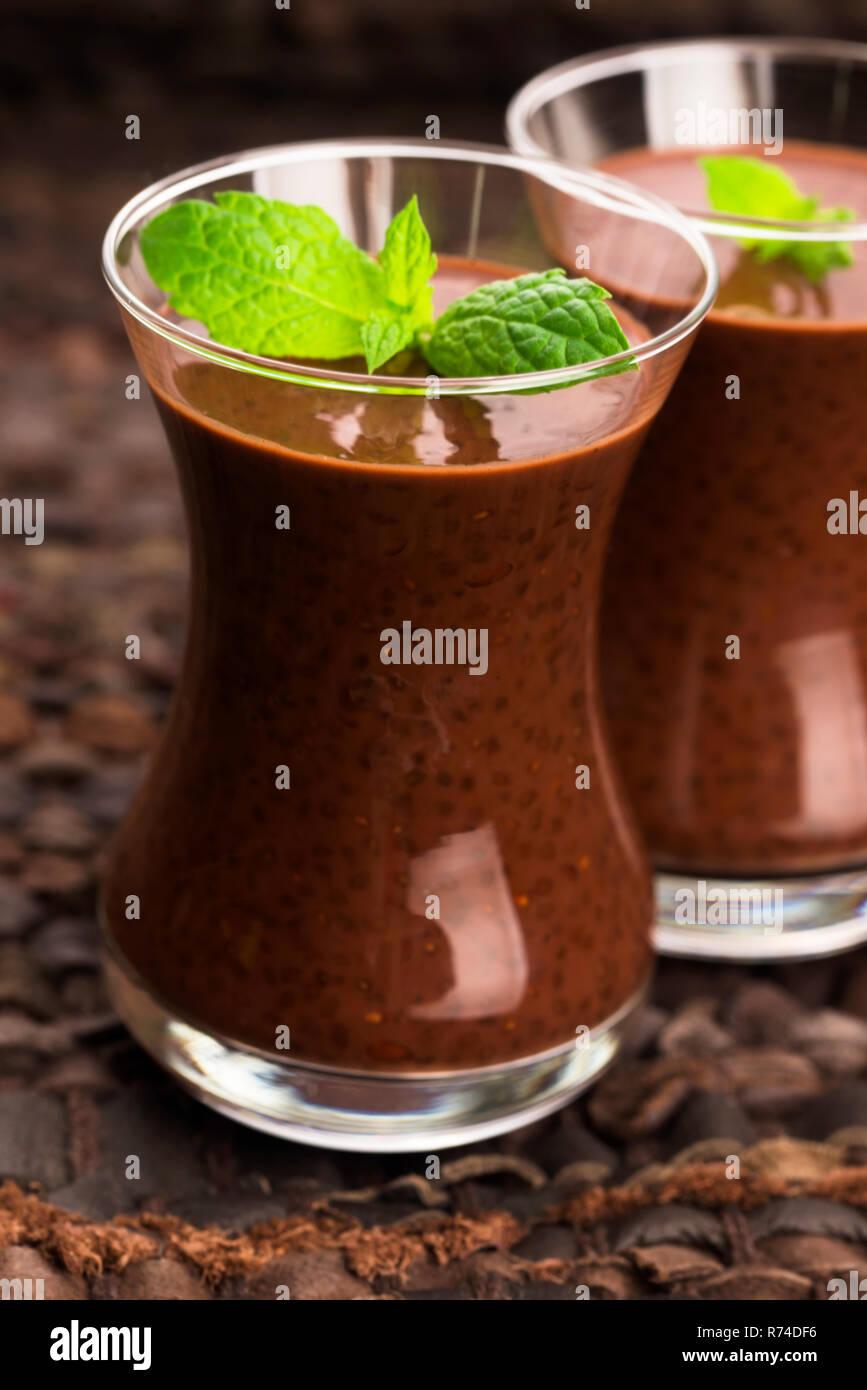 Chocolate chia seeds pudding Stock Photo