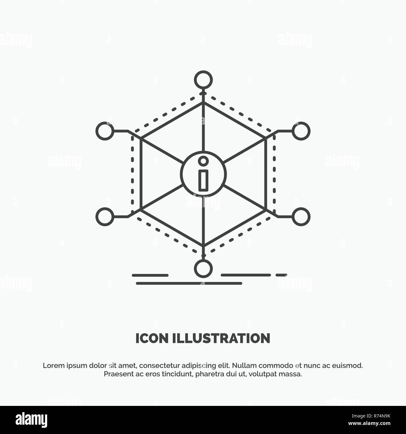 Data, help, info, information, resources Icon  Line vector