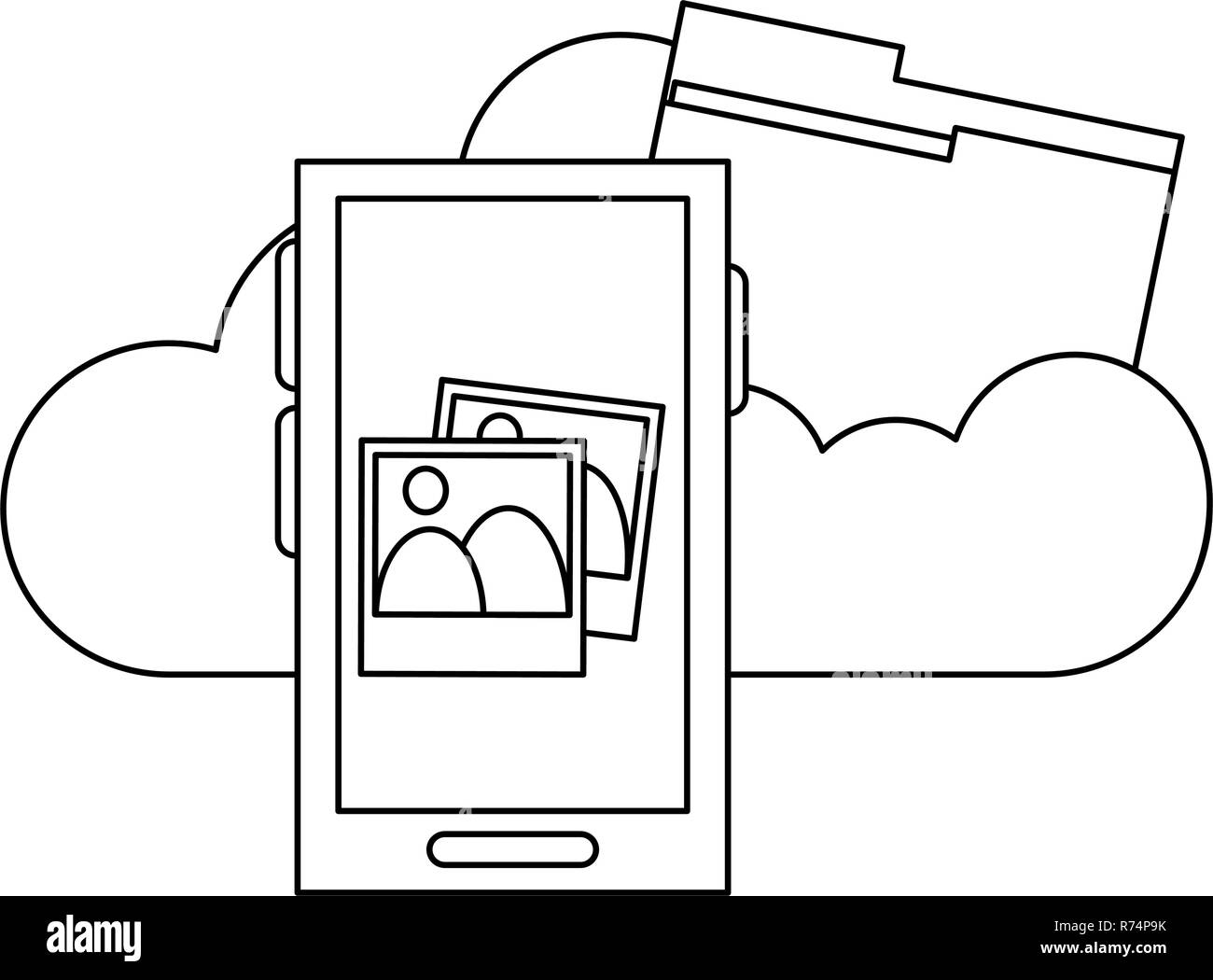 Smartphone with photos on cloud computing black and white - Stock Image