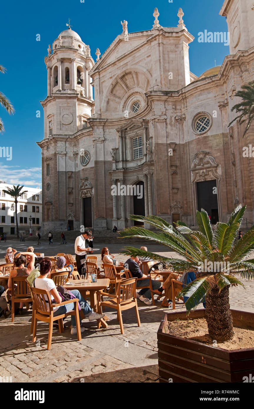 Terrace bar and cathedral. Cadiz. Region of Andalusia. Spain. Europe. - Stock Image