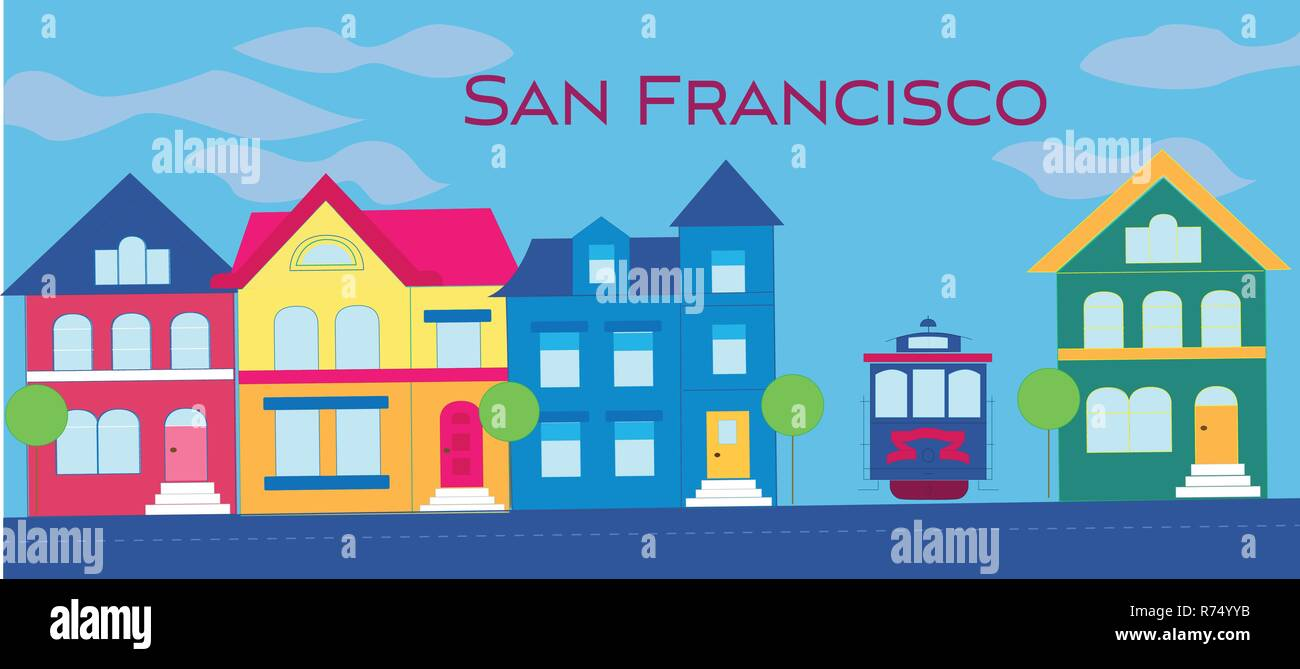 San Francisco magenta magenta lettering. Vector with colorful victorian houses and cable car on lightblue cloudy background. Travel Postcard. - Stock Vector