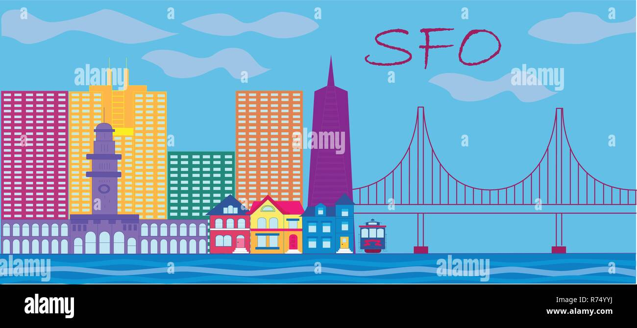 San Francisco red lettering. Vector with skyscrapers, colorful victorian style houses , cable car and golden gate bridge . - Stock Vector