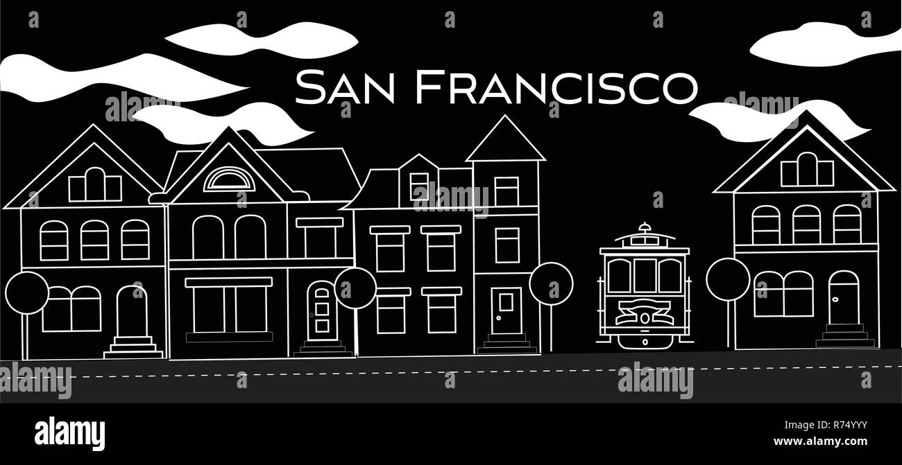 San Francisco white lettering. Vector with  victorian houses and cable car on black background. Travel Postcard. - Stock Vector