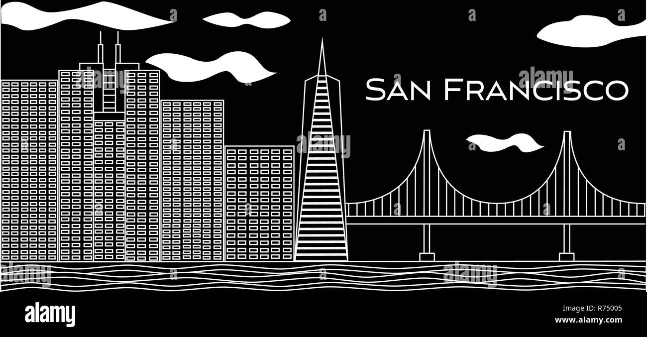 San Francisco white lettering. Vector with skyscrapers and golden gate bridge on black background . Travel postcard. - Stock Vector