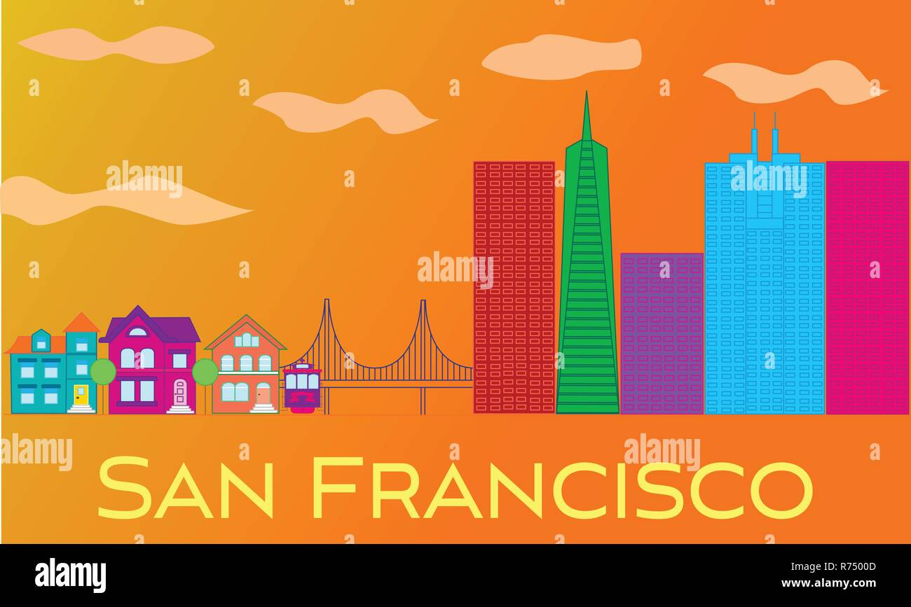 San Francisco yellow lettering. Vector with skyscrapers, cable car and golden gate bridge on orange background. - Stock Vector