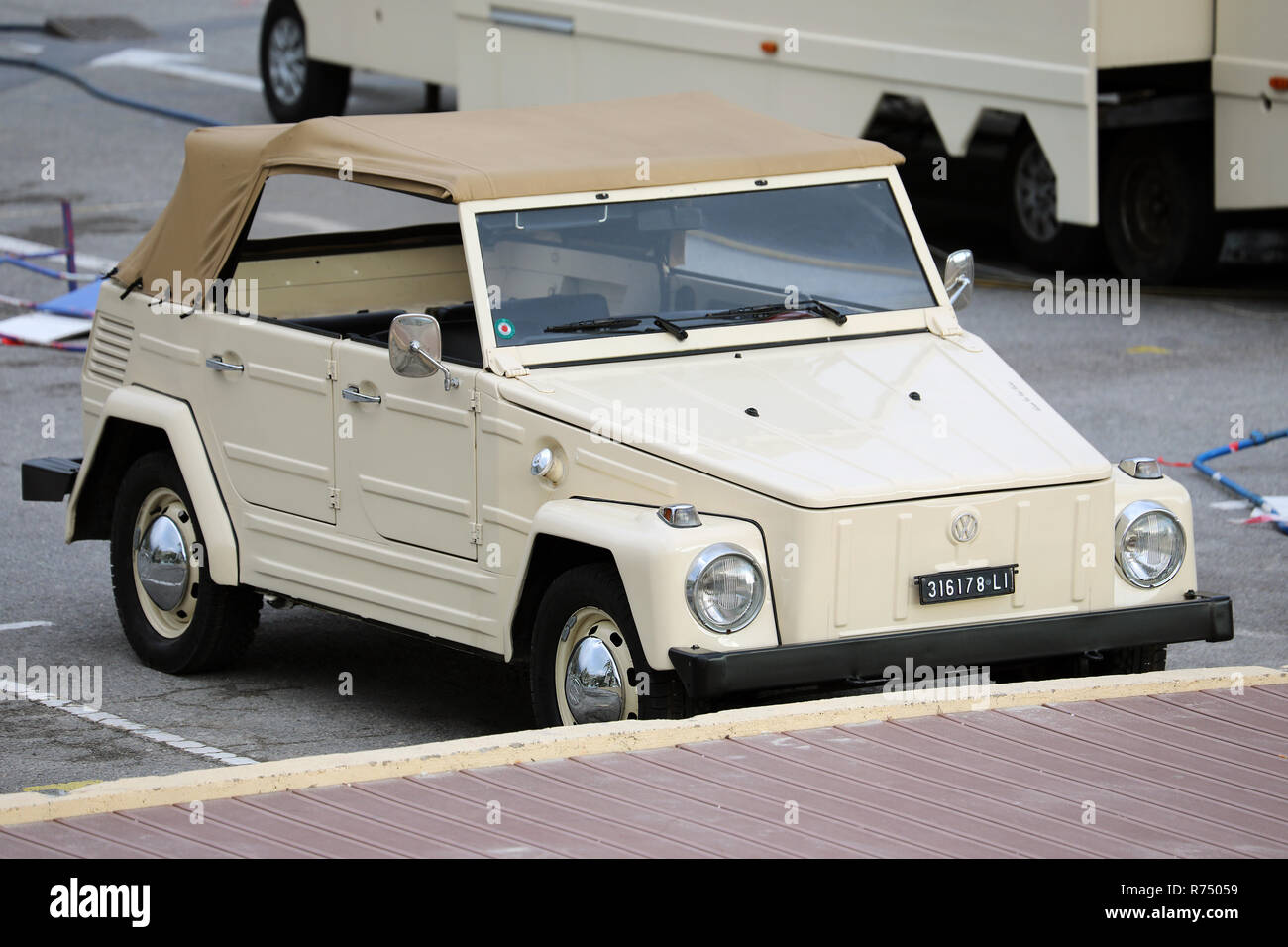 Menton, France - December 7, 2018:  Beautiful Vintage Volkswagen Thing 1973 (Front View) Car On French Riviera, Europe Stock Photo