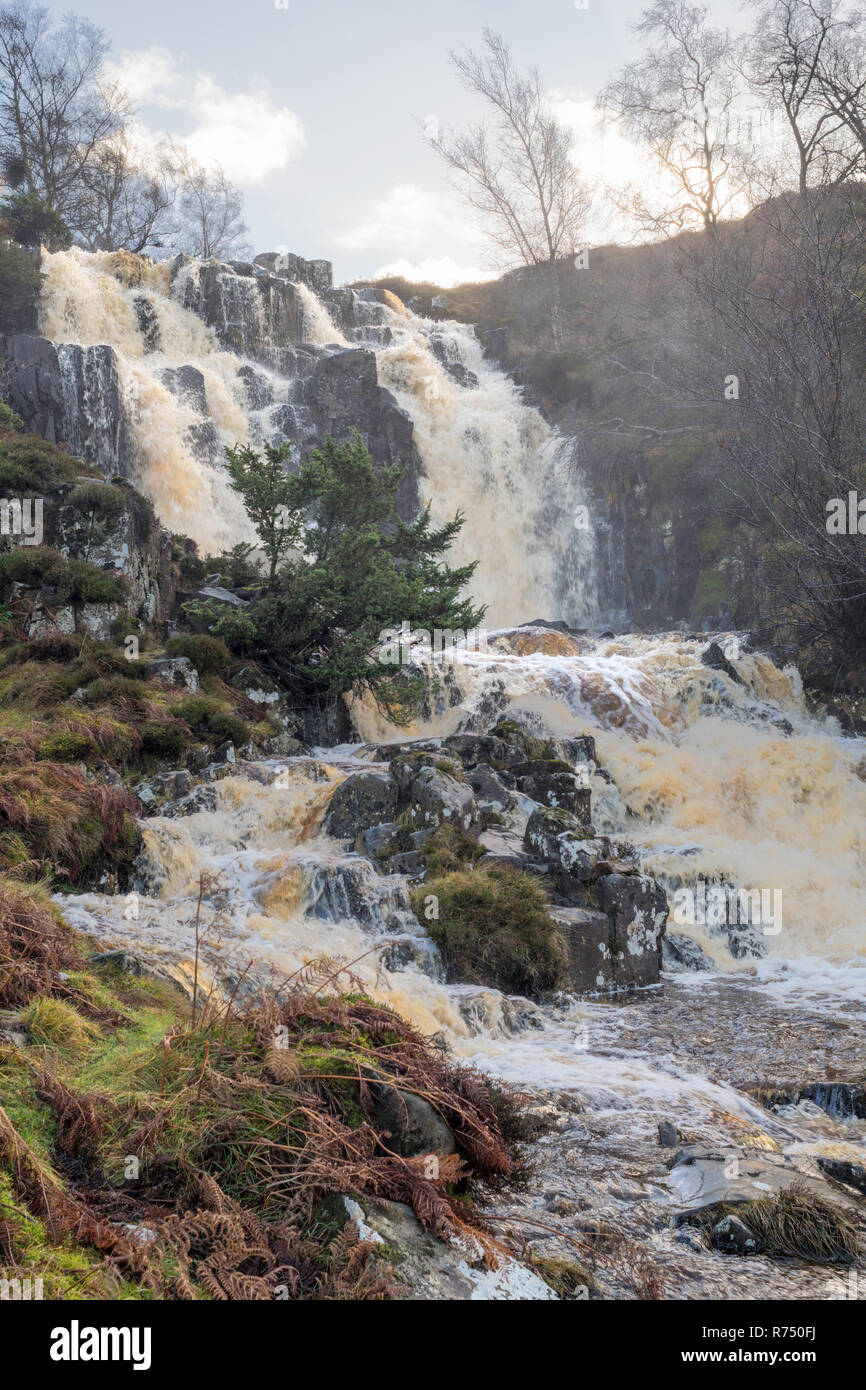 Blea Beck Force waterfall in spate, Teesdale, Co. Durham, England, UK Stock Photo
