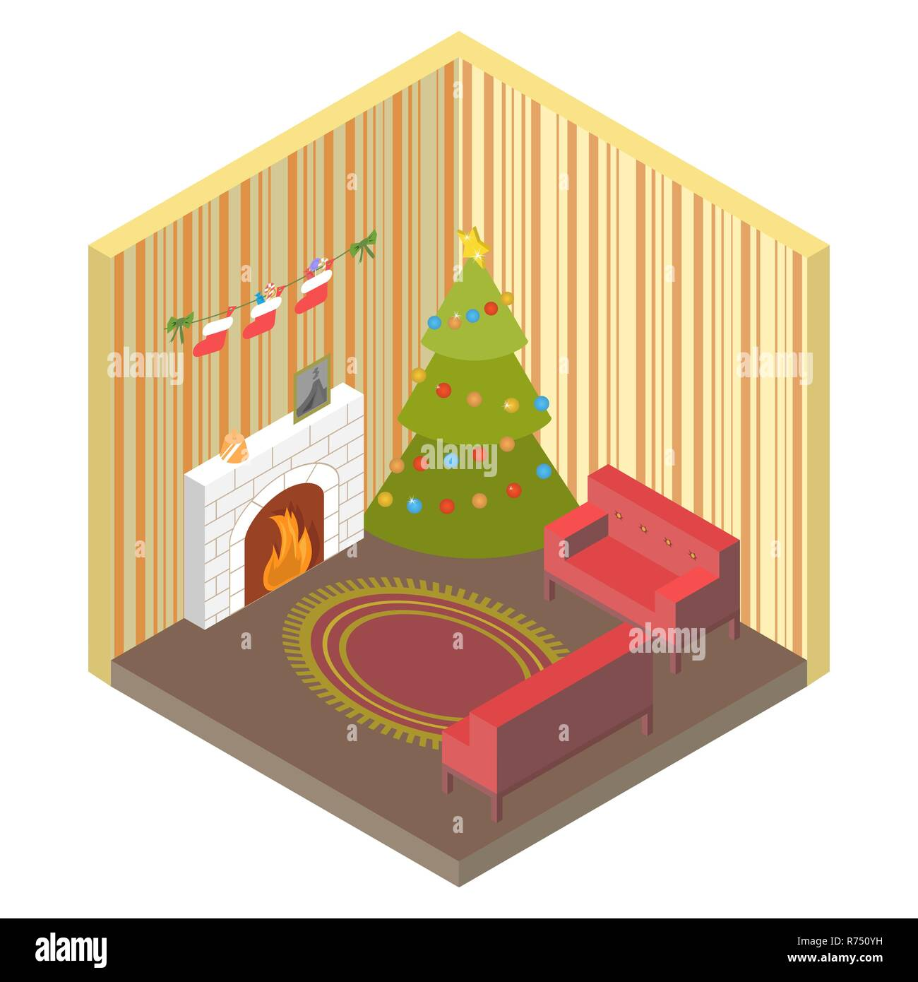 Room isometric with Christmas tree,fireplace, Santas sock for sweets,and gifts, top view.Home decoration for the holiday Merry Christmas or New year s - Stock Vector