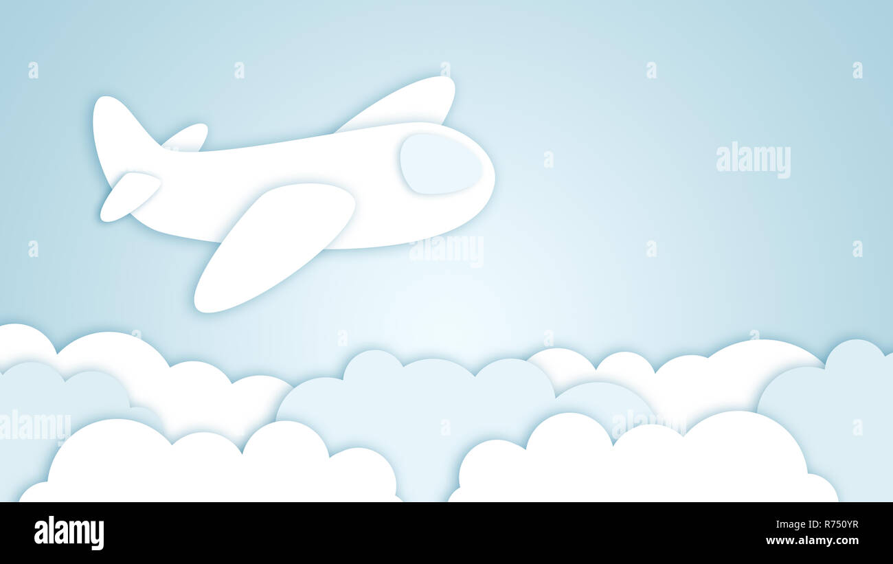 Airplane, paper art style - Stock Image