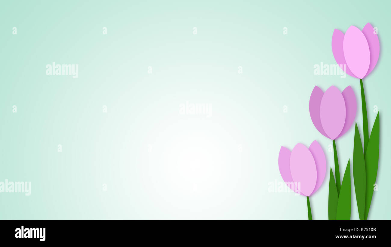 Flowers, paper art style, light background - Stock Image