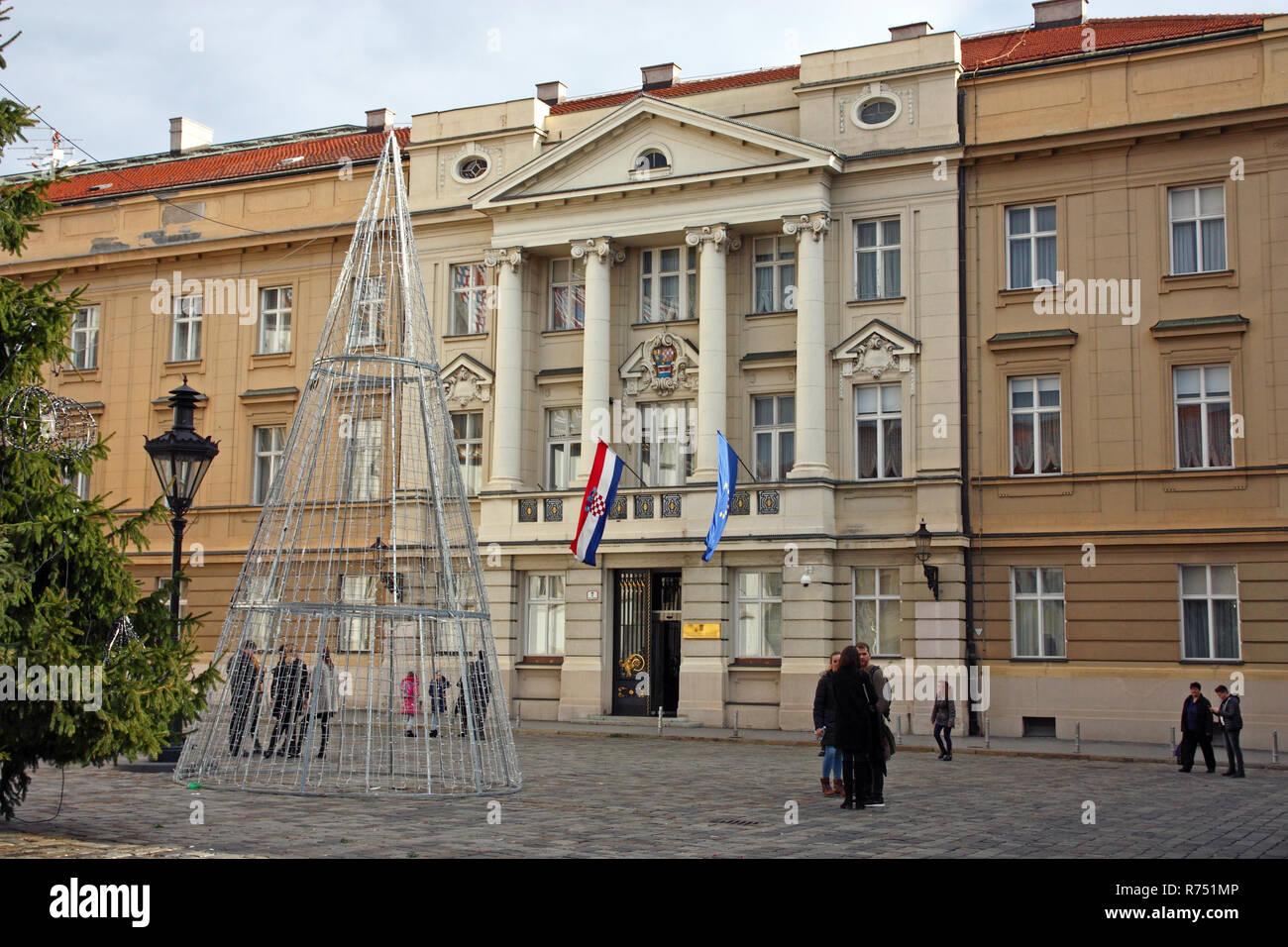 ZAGREB, CROATIA - JANUARY 6, 2018: Croatian Parliament with Flags of European Union and Croatia - Stock Image