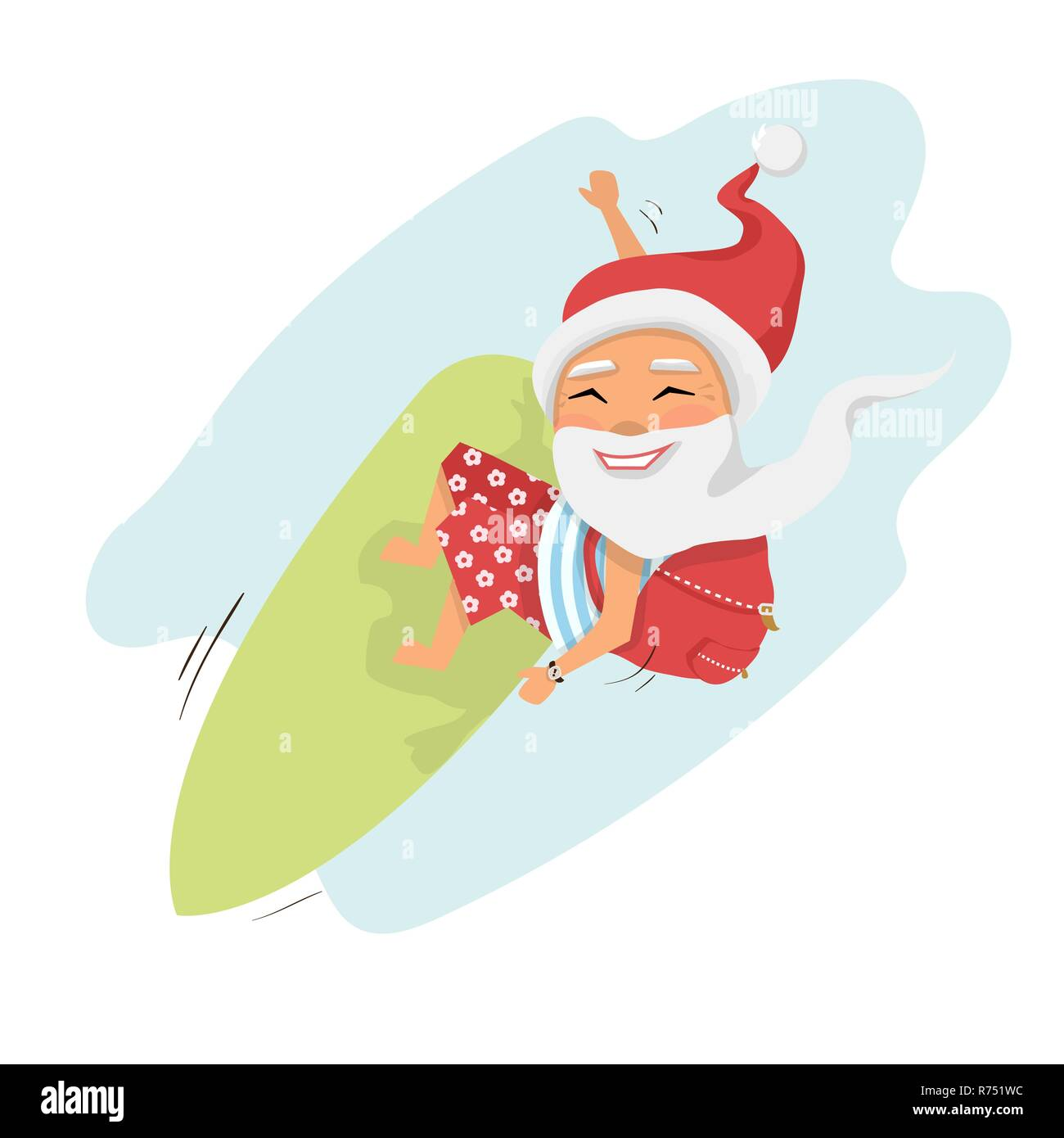 Santa on surfboard with gifts in backpack isolated over white cartoon character Santa Claus.Merry Christmas and Happy New Year background