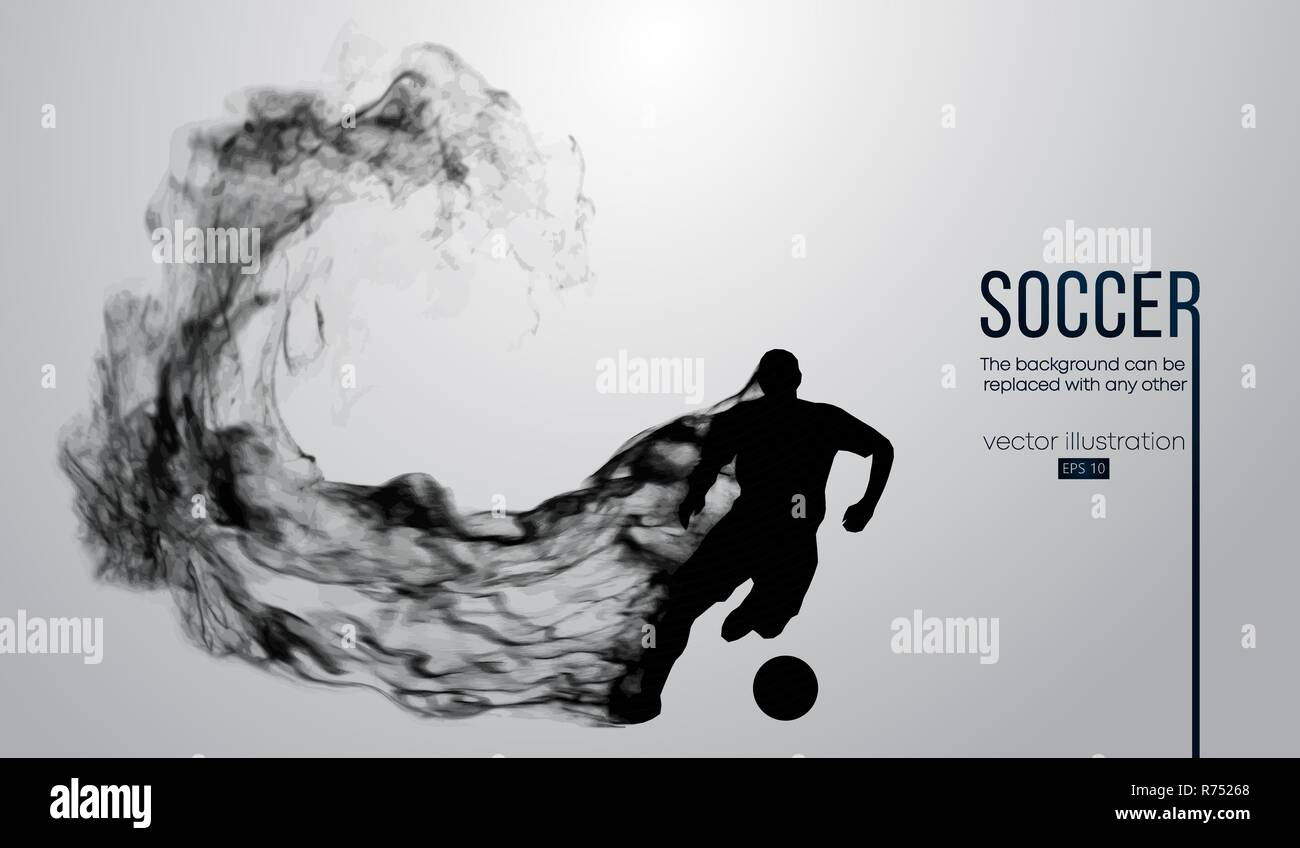 silhouette of a football player from particles. Soccer player running with ball. - Stock Image