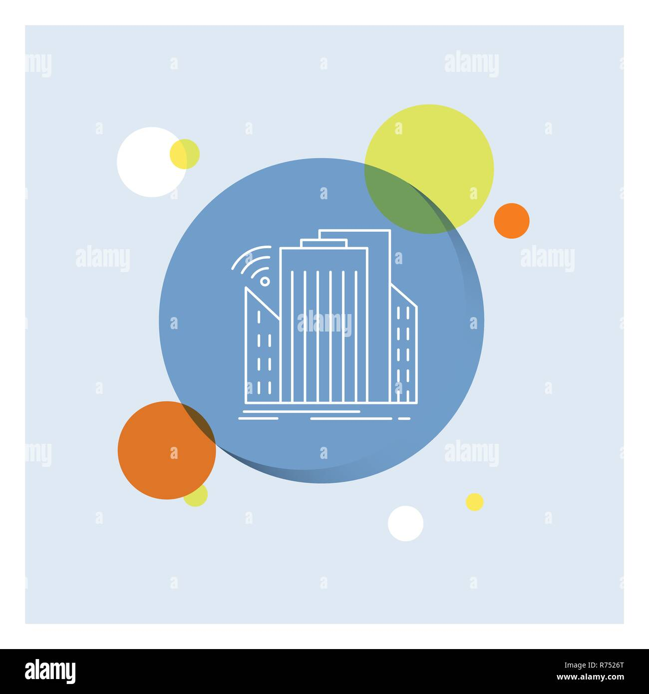 Buildings, city, sensor, smart, urban White Line Icon colorful Circle Background - Stock Vector