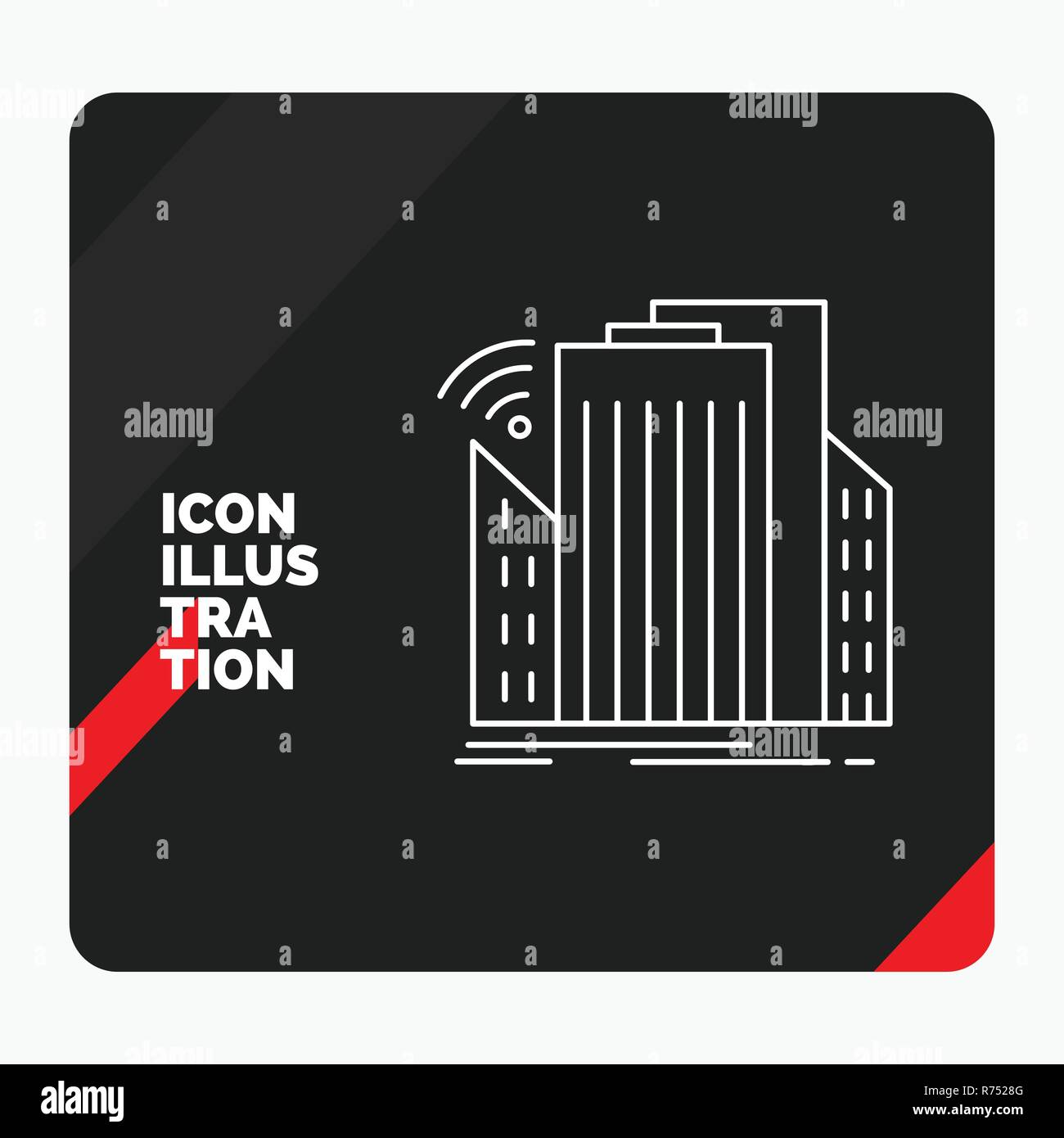 Red and Black Creative presentation Background for Buildings, city, sensor, smart, urban Line Icon - Stock Vector