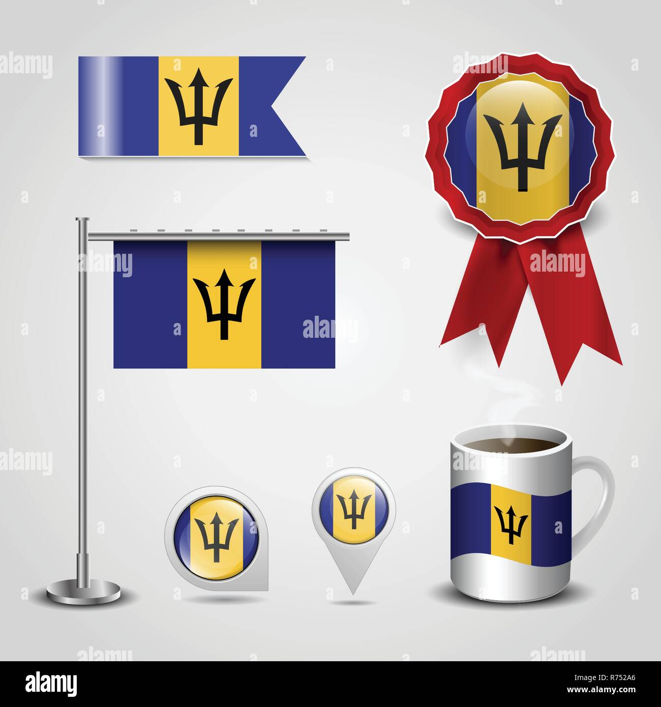 Barbados Country Flag place on Map Pin, Steel Pole and Ribbon Badge Banner - Stock Vector