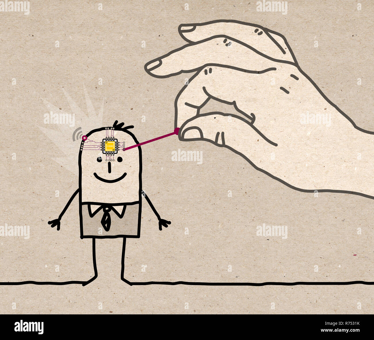 Big Hand Putting a Microchip in a Cartoon Man's Head - illustration on textured brown paper - Stock Image