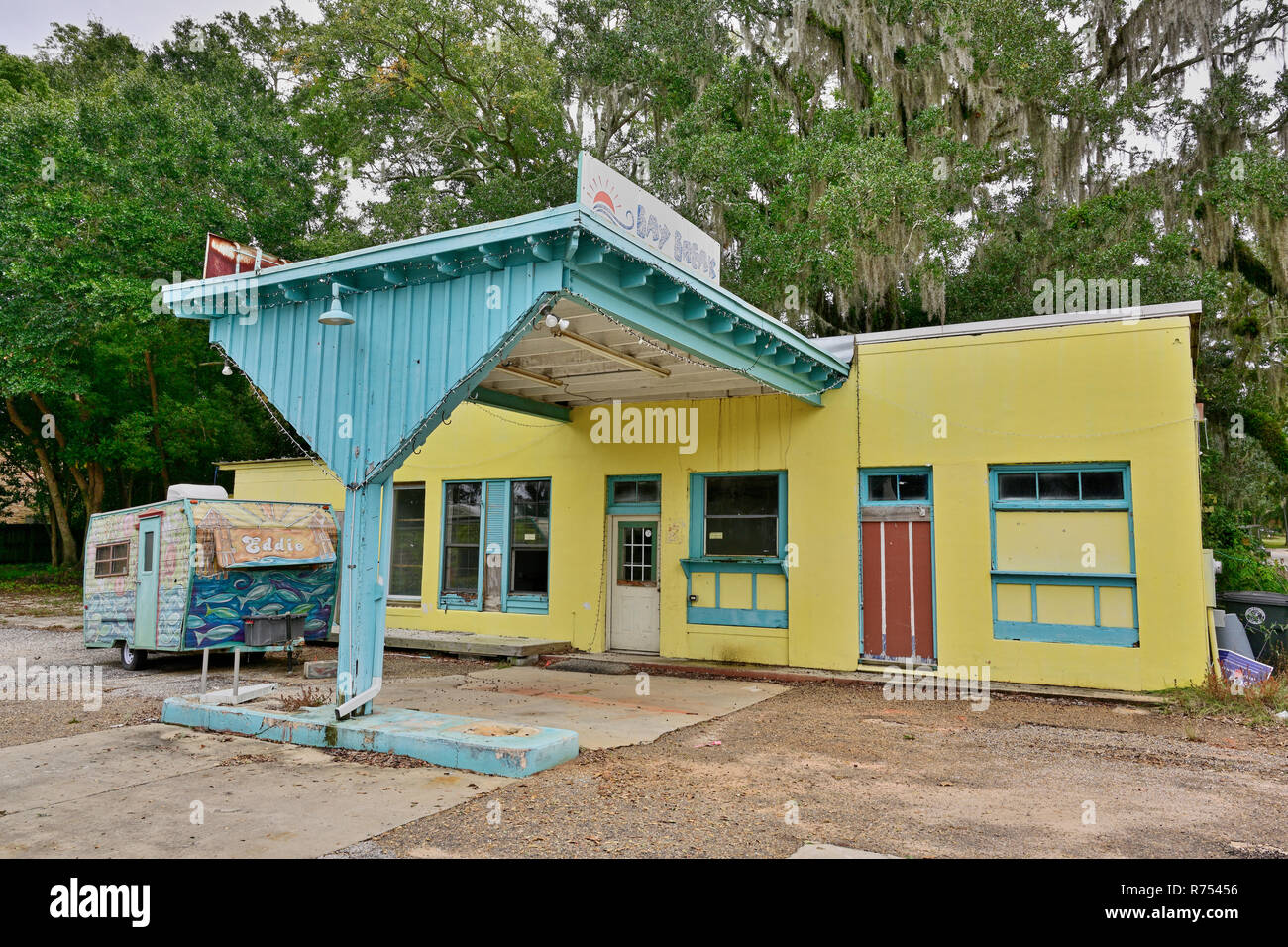 Closed repurposed gas station made into Bay Break a closed diner, or cafe or restaurant, in Fairhope Alabama, USA. - Stock Image