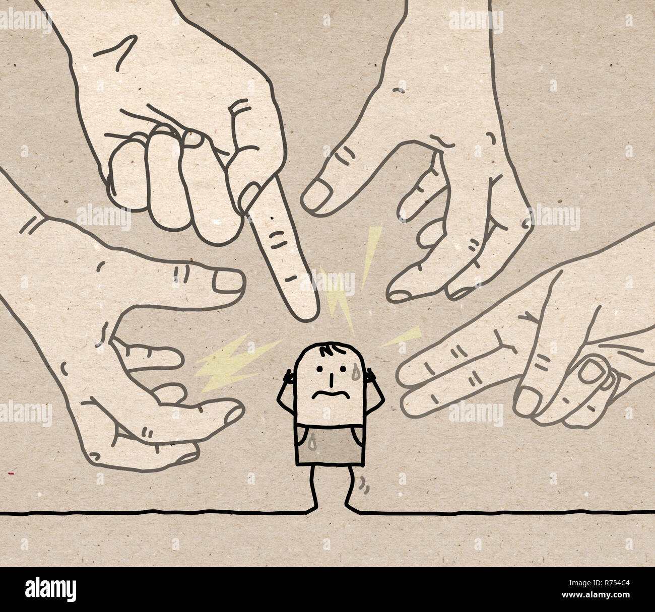 Big Hands with Cartoon Character - Aggression and Paranoia- illustration on textured brown paper - Stock Image