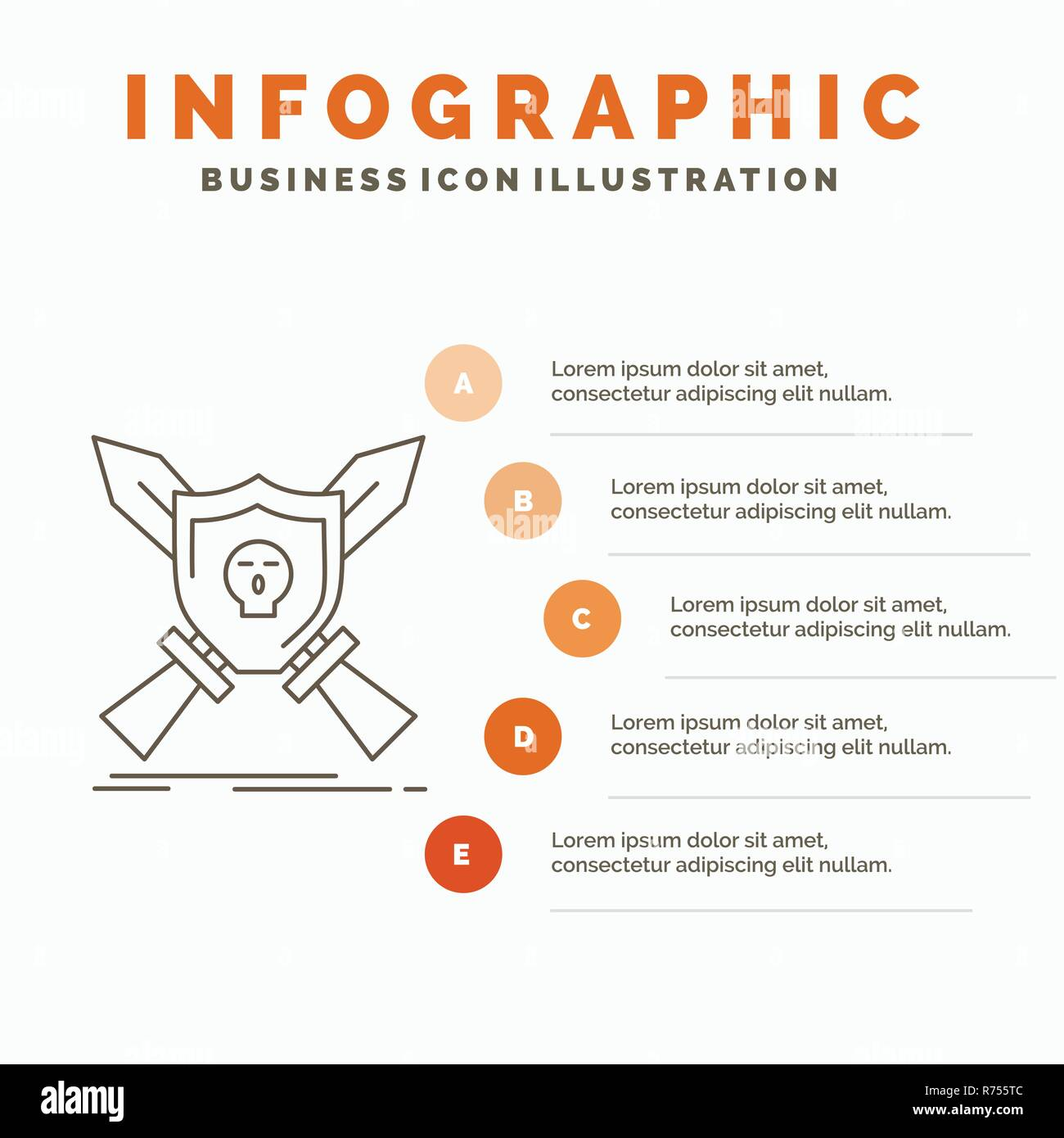 Badge Emblem Game Shield Swords Infographics Template For Website And Presentation Line Gray Icon With Orange Infographic Style Vector Illustrati