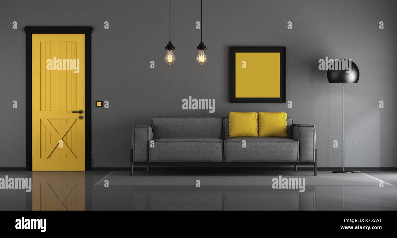 Yellow And Gray Minimalist Living Room Stock Photo Alamy