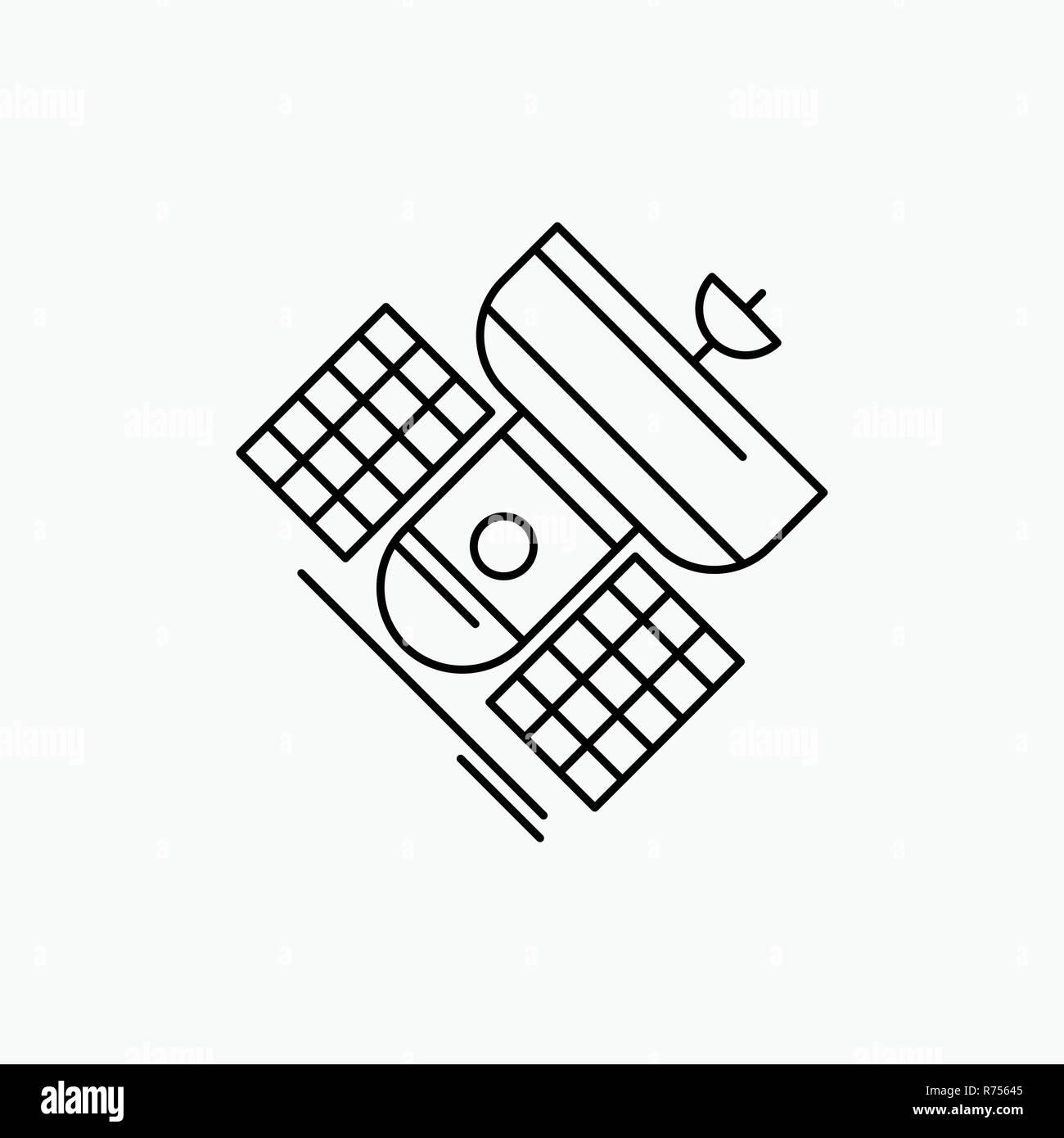 Broadcast, broadcasting, communication, satellite, telecommunication Line Icon. Vector isolated illustration - Stock Image