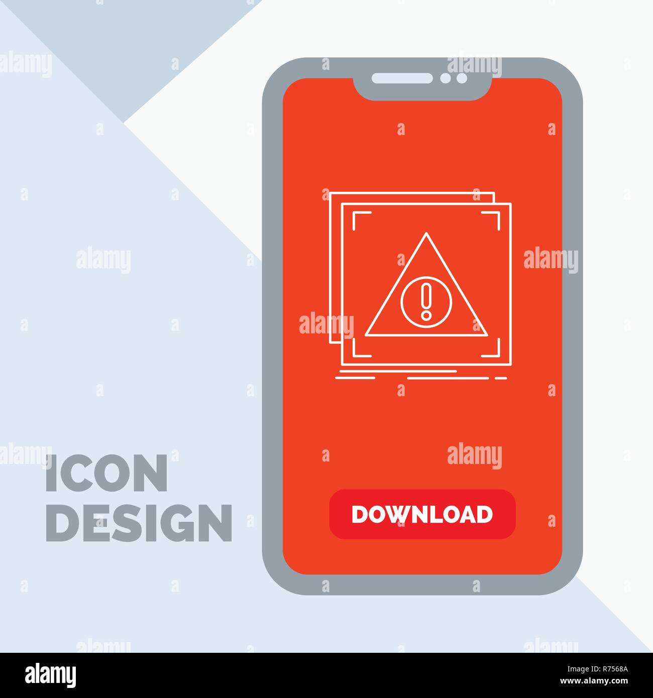 Error, Application, Denied, server, alert Line Icon in Mobile for Download Page - Stock Image