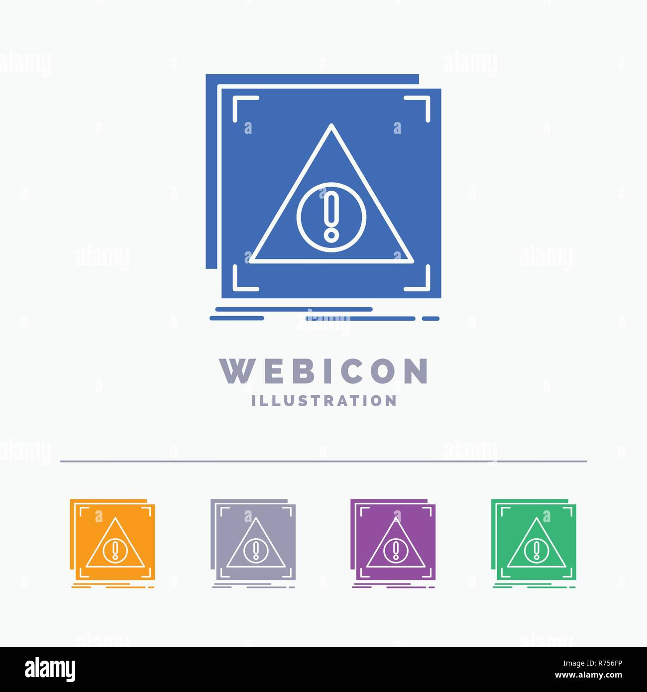 Error, Application, Denied, server, alert 5 Color Glyph Web Icon Template isolated on white. Vector illustration - Stock Image